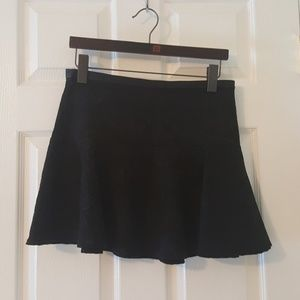 Black Mini Skirt with Embossed Florals